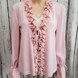 Size 12 St. John Pink Silk Ruffle Knit Jacket NEW